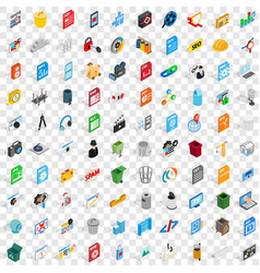 100 computer icons set isometric 3d style vector image