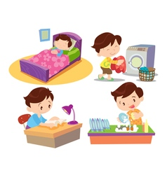 boy working in home many action vector image vector image