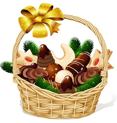 Christmas cookie on basket isolated on white vector image vector image