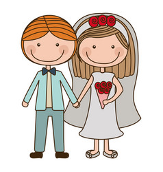 colorful caricature couple in wedding suit with vector image vector image