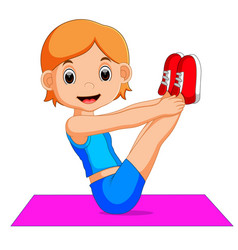 cute woman character doing yoga vector image