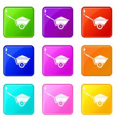 garden wheelbarrow set 9 vector image