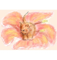 kitten in garden vector image vector image