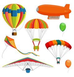 set of blimp paraglider and kite air balloon and vector image