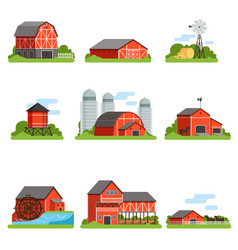 farm buildings and constructions set agriculture vector image vector image