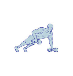 fitness athlete push up one hand dumbbell drawing vector image