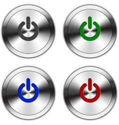 Metallic Power Button vector image