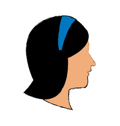 profile woman cartoon portrait wear diadem vector image