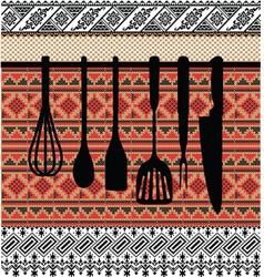 Rack of kitchen utensils vector image vector image