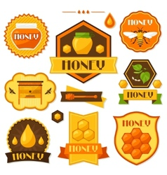 Set of honey and bee labels badges emblems vector