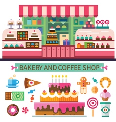 Bakery and coffee shop vector image vector image