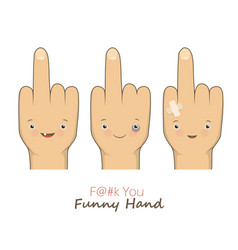 cartoon middle fingers vector image