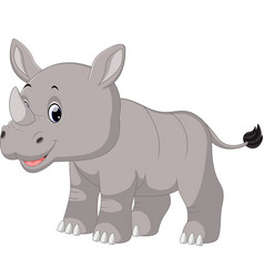 Cute baby rhino sitting vector