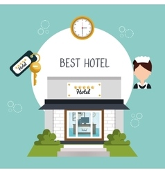 hotel building five stars icon vector image