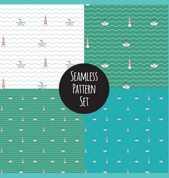 seamless marine pattern set vector image vector image