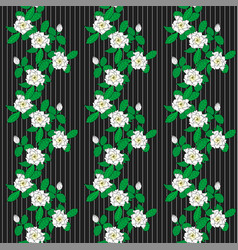 seamless pattern with graphic flowers gardenia and vector image vector image