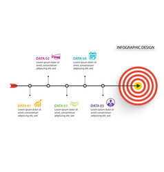 5 infographic business with bow arrow and target vector image