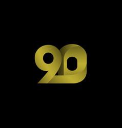 90 years anniversary celebration gradient gold vector