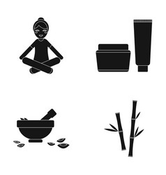 A girl in a yoga lotus pose a jar of cream and a vector