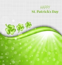 Abstract Glowing Background with Green Trefoils vector image