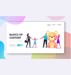 Adoption custody and childcare landing page vector