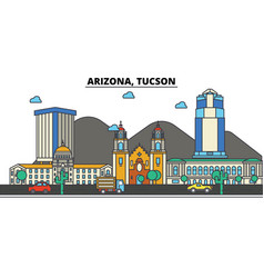 arizona tucsoncity skyline architecture vector image