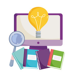 back to school class computer online books vector image