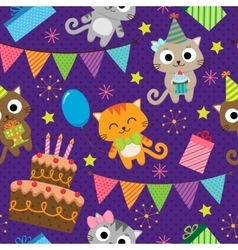 Birthday party pattern with cats vector