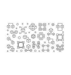 Blockchain crypto horizontal outline vector