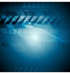 Blue tech background with wavy lines vector image