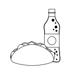 Burrito and soda bottle black and white vector