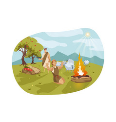 Cain and abel bible concept vector