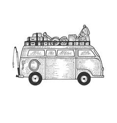 camper van vehicle sketch engraving vector image
