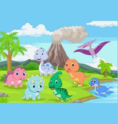 cartoon badinosaurs in jungle vector image