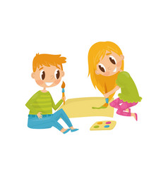 Cheerful children drawing picture tools for vector