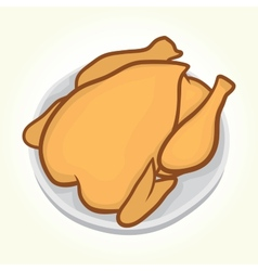 Chicken on a plate vector image