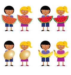 Children holding egg and fruit set vector