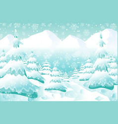 christmas background snowy woodland landscape vector image