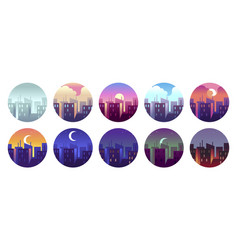 city circular landscapes dawn morning city sunny vector image