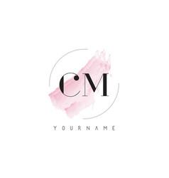 Cm c m watercolor letter logo design vector