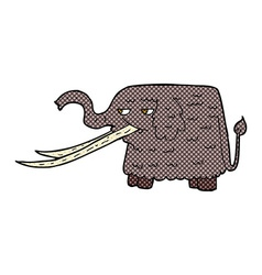 Comic cartoon woolly mammoth vector