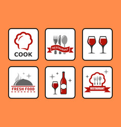 concept restaurant icons set vector image