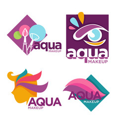 Cosmetics and aqua makeup isolated icons beauty vector