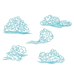 Curly clouds set vector image