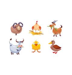cute cartoon farm animals set sheep hen goat vector image