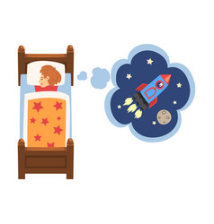Cute girl sleeping in bed and dreaming about vector