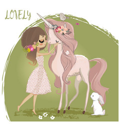 Cute unicorn with girl vector