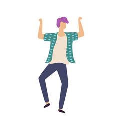 Dancing boy with rising hands guy dancer vector