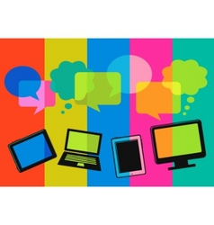 different computer icons with speech bubbles vector image