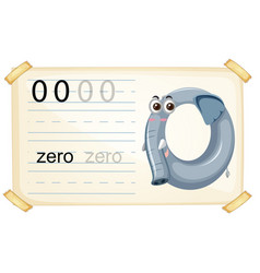 Elephant zero number worksheet vector